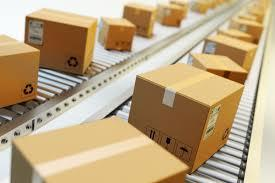 Packages on a conveyor